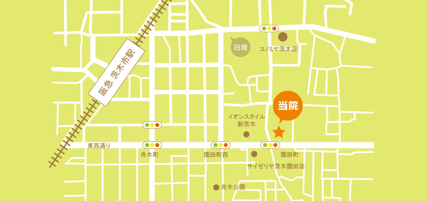茨木やまもと耳鼻科へのアクセス地図